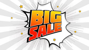 Big sale pop art splash background, explosion in comics book style. Advertising signboard, price reduction, sale with Stock Photos