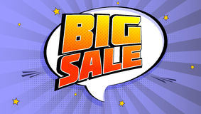 Big sale pop art splash background, explosion in comics book style. Advertising signboard, price reduction, sale with. Halftone dots, cloud, beams light on vector illustration