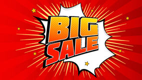 Big sale pop art splash background, explosion in comics book style. Advertising signboard, price reduction, sale with. Halftone dots, cloud beams light on red vector illustration