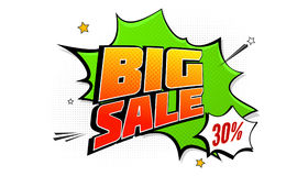 Big sale pop art splash background, explosion in comics book style. Advertising signboard, price reduction, sale with Royalty Free Stock Photography