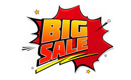 Big sale pop art splash background, explosion in comics book style. Advertising signboard, price reduction, sale with. Halftone dots, cloud beams on white vector illustration