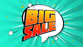 Big sale pop art splash background, explosion in comics book style. Advertising signboard, price reduction, sale with Stock Image