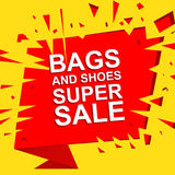 Big sale poster with BAGS AND SHOES SUPER SALE text. Advertising vector exploding banner Royalty Free Stock Photography