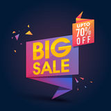 Big Sale Poster, Banner or Flyer design. Creative Glossy Paper Tag or Banner design of Big Sale with Upto 70% Off on blue background Stock Image