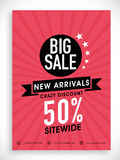 Big sale poster, banner or flyer design. Stock Images