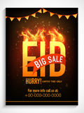 Big sale poster, banner or flyer for Eid celebration. Creative poster, banner or flyer design with shiny text Eid in fire for Muslim community festival Royalty Free Stock Image