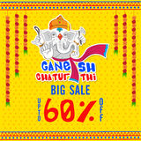 Big Sale Poster or Banner for Ganesh Chaturthi. Big Sale Poster, Banner or Flyer, Flat Discount Upto 60% Off, Vector Illustration of Lord Ganesha on flowers Stock Photo