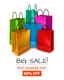 Big Sale Poster. With colored paper shopping bags with handles on white background 3d vector illustration Stock Photos