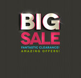 Big sale poster, cut out letters. Beautiful bright colors and dark dots background Stock Photography