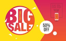 Big Sale Poster. Design With 50% Discount Tag Vector Illustration Royalty Free Stock Image