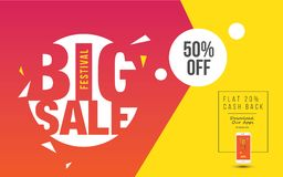 Big Sale Poster. Design for Festival With 50% Discount Tag Vector Illustration Royalty Free Stock Image