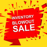 Big sale poster with INVENTORY BLOWOUT SALE text. Advertising vector banner Stock Images