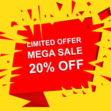 Big sale poster with LIMITED OFFER MEGA SALE 20 PERCENT OFF text. Advertising vector banner Royalty Free Stock Images