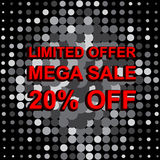 Big sale poster with LIMITED OFFER MEGA SALE 20 PERCENT OFF text. Advertising vector banner Stock Photos