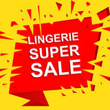 Big sale poster with LINGERIE SUPER SALE text. Advertising vector banner Stock Photos