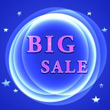 Big sale poster. Neon sign big sale. Plasma circle with stars Stock Image