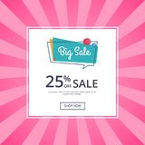 Big Sale Poster 25 Percent Off Discount Vector. Big sale poster with 25 percent off discount vector illustration  on white background. Best offer proposal web Stock Photo