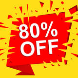 Big sale poster with 80 PERCENT OFF text. Advertising vector banner Royalty Free Stock Photography
