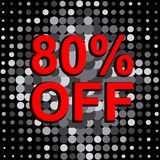 Big sale poster with 80 PERCENT OFF text. Advertising vector banner Royalty Free Stock Photo