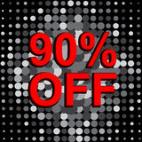 Big sale poster with 90 PERCENT OFF text. Advertising vector banner. Big sale poster with 90 PERCENT OFF text. Advertising monochrome and red vector banner Stock Image