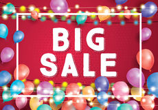 Big Sale Poster on Red Background with Flying Balloons, White Fr. Ame and Neon Garland. Vector Illustration. Big Sale Banner Stock Image
