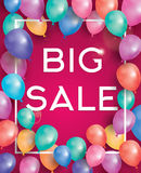Big sale poster on red background with flying balloons and white. Frame. Vector illustration. Big sale banner Royalty Free Stock Photography