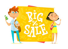 Big sale poster for school theme. Royalty Free Stock Photo