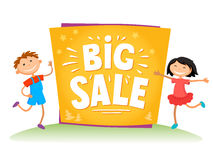 Big sale poster for school theme. New Year Big sale background with kids isolated.Vector illustration Royalty Free Stock Image