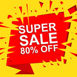 Big sale poster with SUPER SALE 80 PERCENT OFF text. Advertising vector banner Royalty Free Stock Photos
