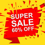 Big sale poster with SUPER SALE 60 PERCENT OFF text. Advertising vector banner. Big sale poster with SUPER SALE 60 PERCENT OFF text. Advertising boom and red Stock Photos