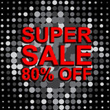 Big sale poster with SUPER SALE 80 PERCENT OFF text. Advertising vector banner Royalty Free Stock Image