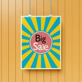 Big sale poster on a wall 3d rendering. Colorful big sale poster on a wooden textured wall 3d rendering Royalty Free Stock Images
