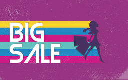 Big sale poster with woman shopping for fashion clothes. 80s vector background banner, bright vivid colors. Big sale poster with woman shopping for fashion Royalty Free Stock Images