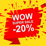 Big sale poster with WOW SUPER SALE MINUS 20 PERCENT text. Advertising vector banner. Big sale poster with WOW SUPER SALE MINUS 20 PERCENT text. Advertising boom stock illustration