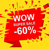 Big sale poster with WOW SUPER SALE MINUS 60 PERCENT text. Advertising vector banner Royalty Free Stock Photography