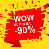 Big sale poster with WOW SUPER SALE MINUS 90 PERCENT text. Advertising vector banner. Big sale poster with WOW SUPER SALE MINUS 90 PERCENT text. Advertising boom Stock Photos