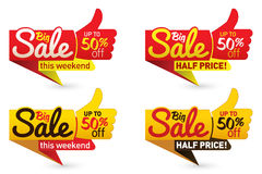 Big sale price offer deal vector labels templates stickers. Designs with like gesture. Vector illustration Royalty Free Stock Photos