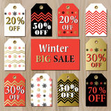 Big sale printable card template with golden red snowflakes design. Royalty Free Stock Images