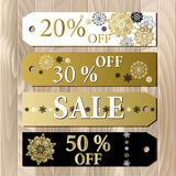 Big sale printable card template with golden snowflakes design. Stock Photography