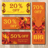 Big sale printable card template with peacock feathers design. Stock Image