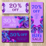 Big sale printable card template with peacock feathers design. Royalty Free Stock Image