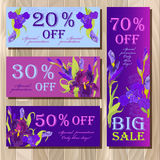 Big sale printable card template with purple iris flower design. Stock Photos