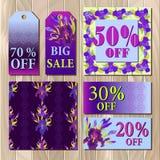 Big sale printable card template with purple iris flower design. Royalty Free Stock Image