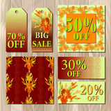 Big sale printable card template with red iris flower design. Royalty Free Stock Photography