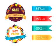 Big Sale 60 25 Promo Label Round Stickers Set. Big sale hot price 60 25 promo label round stickers with color advertising ribbons vector illustrations set of Royalty Free Illustration