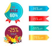 Big Sale 60 35 Promo Label Round Stickers Set Royalty Free Stock Photo
