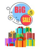 Big Sale Promo Poster with Gift Boxes in Wrappings Royalty Free Stock Photography