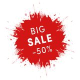 Big sale promo sign. Grunge red ink spot on white background. Shopping, special offers sign Royalty Free Stock Image