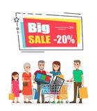 Big Sale Promo Sticker Frame 20 People Shopping. Big sale promo sticker in square shape frame 20 discount offer and people with cart on shopping with bargains Stock Image