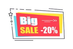 Big Sale Promo Sticker in Square Shape Frame 20 Royalty Free Stock Photos